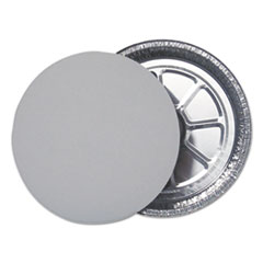 "Durable Packaging Flat Board Lids for 9"" Round Containers, Silver, 500 /Carton"