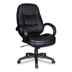 Alera® Alera PF Series High-Back Leather Office Chair, Supports up to 275 lbs., Black Seat/Black Back, Black Base