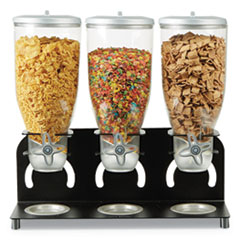 Mind Reader Heavy Duty Metal Cereal Triple Dispenser, 60 oz, 18.5 x 5.93 x 17.25, Black/Clear
