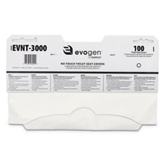 "HOSPECO® Evogen No Touch Toilet Seat Covers, 15 1/2"" x 9 1/4"", White, 3000/Carton"
