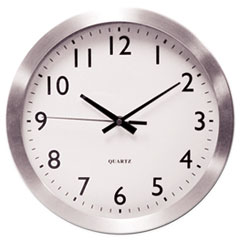 "Universal® Brushed Aluminum Wall Clock, 12"" Overall Diameter, Silver Case, 1 AA (sold separately)"