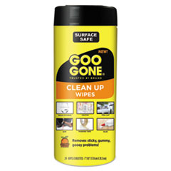 Goo Gone® Clean Up Wipes, 8 x 7, Citrus Scent, White, 24/Canister, 4 Canister/Carton