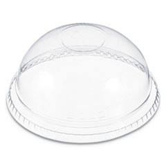 Dart® Plastic Dome Lid, No-Hole, Fits 9-22 oz. Cups, Clear, 100/Sleeve, 10 Sleeves/Carton