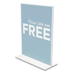 "deflecto® Classic Image Stand-Up Double-Sided Sign Holder, 8 1/2"" x 11"", 12/Pack"