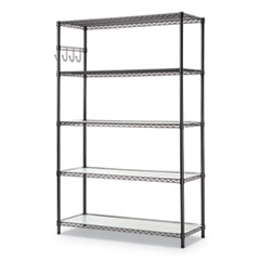 Alera® 5-Shelf Wire Shelving Kit with Casters & Shelf Liners
