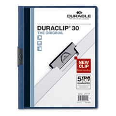 Vinyl DuraClip Report Cover, Letter, Holds 30 Pages, Clear/Dark Blue, 25/Box