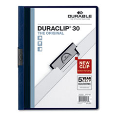 Vinyl DuraClip Report Cover w/Clip, Letter, Holds 30 Pages, Clear/Navy, 25/Box