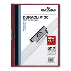 Vinyl DuraClip Report Cover w/Clip, Letter, Holds 30 Pages, Clear/Maroon, 25/Box