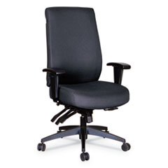 Alera® Alera Wrigley Series High Performance High-Back Multifunction Task Chair, Up to 275 lbs., Black Seat/Back, Black Base