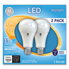 GE LED Daylight A21 Dimmable Light Bulb, 15 W, 2/Pack