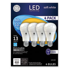 GE LED Soft White A19 Dimmable Light Bulb, 10 W, 4/Pack