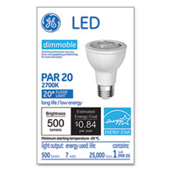 GE LED PAR20 Dimmable Warm White Flood Light Bulb, 2700K, 7 W