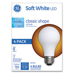 GE Classic LED Soft White Non-Dim A19 Light Bulb, 8 W, 4/Pack