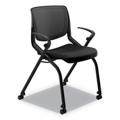 HON® Motivate Nesting/Stacking Flex-Back Chair, Supports Up to 300 lb, Onyx Seat, Black Back/Base