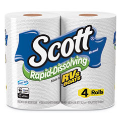Scott® Rapid-Dissolving Toilet Paper, Bath Tissue, Septic Safe, 1-Ply, White, 231 Sheets/Roll, 4/Rolls/Pack, 12 Packs/Carton