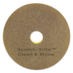 "Scotch-Brite™ Clean and Shine Pad, 20"" Diameter, Yellow/Gold, 5/Carton"