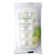 Eco By Green Culture Bath Massage Bar, Clean Scent, 1.06 oz, 300/Carton