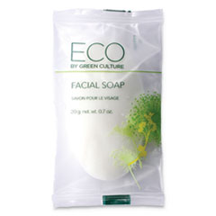 Eco By Green Culture Facial Soap Bar, Clean Scent, 0.71 oz Pack, 500/Carton
