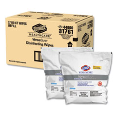 """Clorox® Healthcare® VersaSure Cleaner Disinfectant Wipes, 1-Ply, 12"""" x 12"""", White, 110/Pouch, 2/CT"""