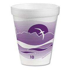 Dart® Foam Drink Cups, 10 oz, White/Purple, 1000/Carton