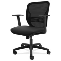 HON® Gateway Mid-Back Task Chair with Fixed Arms, Supports Up to 250 lbs, Black Seat, Black Back, Black Base