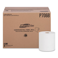 "Marcal PRO™ Hardwound Roll Paper Towels, 1-Ply, 7 7/8"" x 600ft, 12 Rolls/Carton"