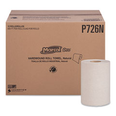 "Marcal PRO™ Hardwound Roll Paper Towels, 1-Ply, 7 7/8"" x 600ft, 12 Rolls/Pack,12 Pack/Carton"