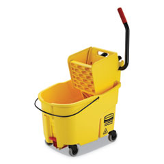 Rubbermaid® Commercial WaveBrake 2.0 Bucket/Wringer Combos, Side-Press, 44 qt, Plastic, Yellow