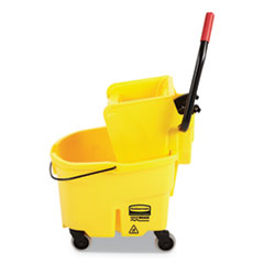 Rubbermaid® Commercial WaveBrake 2.0 Bucket/Wringer Combos, Side-Press, 26 qt, Plastic, Yellow