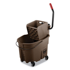 Rubbermaid® Commercial WaveBrake 2.0 Bucket/Wringer Combos, Side-Press, 35 qt, Plastic, Brown