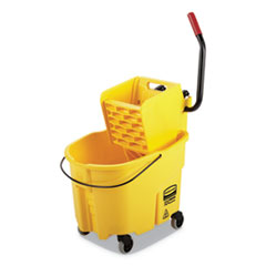 Rubbermaid® Commercial WaveBrake 2.0 Bucket/Wringer Combos, Side-Press, 35 qt, Plastic, Yellow