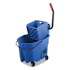 Rubbermaid® Commercial WaveBrake 2.0 Bucket/Wringer Combos, Side-Press, 35 qt, Plastic, Blue