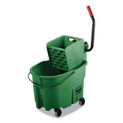Rubbermaid® Commercial WaveBrake 2.0 Bucket/Wringer Combos, Side-Press, 35 qt, Plastic, Green