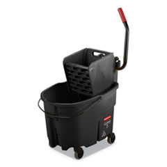 Rubbermaid® Commercial WaveBrake 2.0 Bucket/Wringer Combos, Side-Press, 35 qt, Plastic, Black