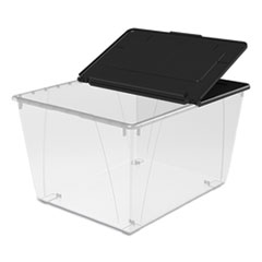 "Storex Storage Tote, 16 gal, 22.7"" x 18.25"" x 12.86"", Clear/Black"