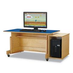 "Computer Table, 42"" x 24"", Birch/Blue"