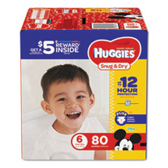 Huggies® Snug and Dry Diapers, Size 6, 35 lbs min, 80/Pack