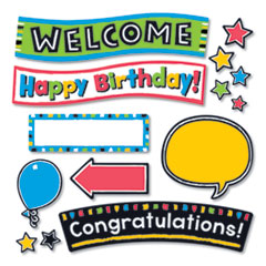 TREND® Bold Strokes Wipe-Off® Celebration Signs Bulletin Board Set