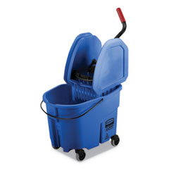 Rubbermaid® Commercial WaveBrake 2.0 Bucket/Wringer Combos, 35 qt, Down Press, Plastic, Blue