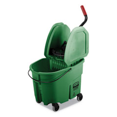 Rubbermaid® Commercial WaveBrake 2.0 Bucket/Wringer Combos, 35 qt, Down Press, Plastic, Green