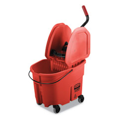 Rubbermaid® Commercial WaveBrake 2.0 Bucket/Wringer Combos, 35 qt, Down Press, Plastic, Red