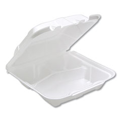 Pactiv Foam Hinged Lid Containers, White, 8.14 x 8.42, 1-Compartment, 150/Carton