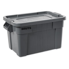 "Rubbermaid® Commercial BRUTE Tote with Lid, 14 gal, 27.5"" x 16.75"" x 10.75"", Gray"