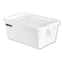 "Rubbermaid® Commercial BRUTE Tote with Lid, 14 gal, 17"" x 28"" x 11"", White"