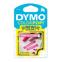 """COLORPOP! Label Maker Tape, 0.5"""" x 10 ft, White on Pink"""