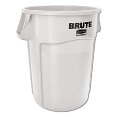 Rubbermaid® Commercial Vented Round Brute Container, 44 gal, White, Resin, 4/Carton
