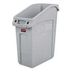 Rubbermaid® Commercial Slim Jim Under-Counter Container, 13 gal, Polyethylene, Gray