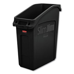 Rubbermaid® Commercial Slim Jim Under-Counter Container, 13 gal, Polyethylene, Black