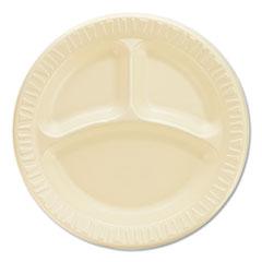 """Dart® Quiet Classic Laminated Foam Dinnerware, Compartment Plate, 9"""" dia, White, 500/Carton"""