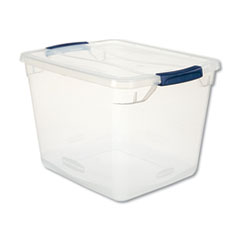 "Rubbermaid® Clever Store Basic Latch-Lid Container, 30 qt, 13.38"" x 16.88"" x 11.5"", Clear"